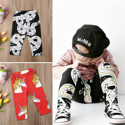 Kids Baby Boys Girls Long Pants Note Unicorn Summer Casual Leggings Trousers
