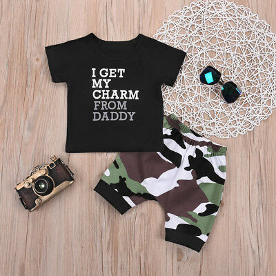 Newborn Kids Baby Boy Clothes T Shirt Tops+Camo Pants Shorts 2pcs Outfits Set AU