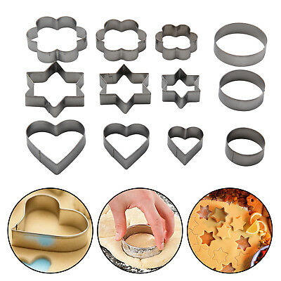 12Pcs Lovely Metal Biscuit Cookie Cutter Cake Mould Sugarpaste Decorating Pastry