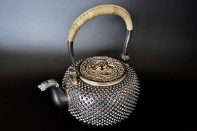Japanese Antique KANJI old silver bottle Tea Kettle teapot Chagama 026