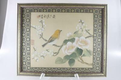 Vintage Chinese Watercolor On Silk Signed Bird Floral Motif Framed