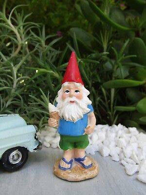 Miniature Dollhouse FAIRY GARDEN ~ Traveling VACATION Gnome with Ice Cream ~ NEW