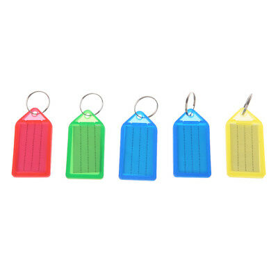 5X Multicolor Key Name Tag Assorted Key Rings ID Luggage Tags Card Label Plastic