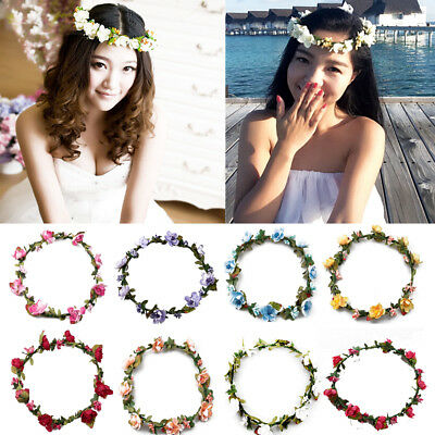 Flower Garland Headband Festival Floral Crown Boho Wedding Bridesmaid Prom Beach