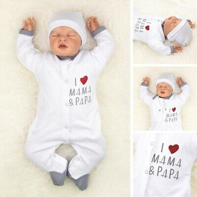 Baby Sweets Unisex Strampler weiß grau I Love Mama & Papa