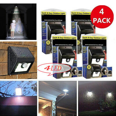 4Pcs Quick&easy Outdoor Light Ever Brite Motion Activated Solar Power Led Light