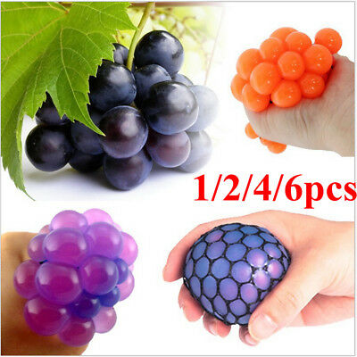 1-6X Anti-Stress Squishy Mesh Ball Grape Squeeze Sensory Fruity Toys Novelty NW