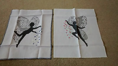 PAIR HAND EMBROIDERED  x STITCH FAIRY PICTURES, sequined. Serenity,tranquility