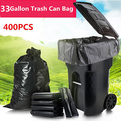 400 Large 33 Gallon Strong Commercial Trash Bag Heavy Garbage Duty Yard (Black)