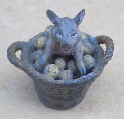 GESCHUTZT Austrian Cold Painted Bronze Miniature - Pig in Basket