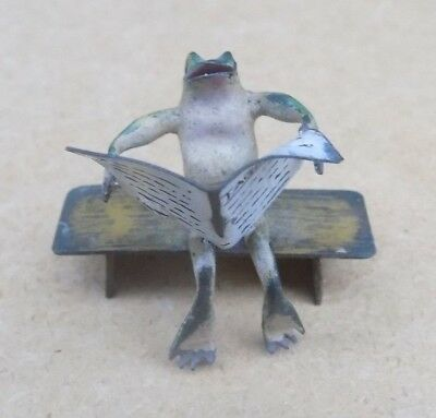 Austrian Vienna Cold Painted Bronze Miniature - Frog Reading Newspaper