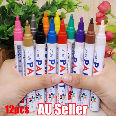 12PCS 12 colors Permanent Fabric Paint Pens T-Shirt Textile Shoes DIY Markers  W