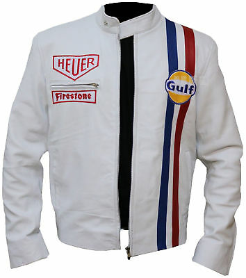 Mens Steve McQueen Le Mans White Gulf Racing Style Stripes White Leather Jacket