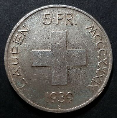 1939 Battle of Laupen Swiss Confederation Silver Five Francs