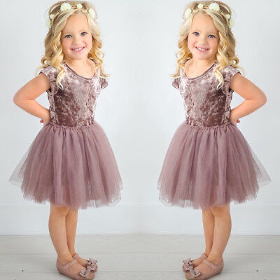 Kids Baby Girl Princess Wedding Casual Short Sleeve Lace Tutu Dress Clothes AU