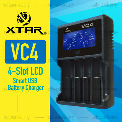 XTAR VC4 4-Slot Smart LCD USB Battery Charger 18650  AA AAA C D Li-ion NiMH