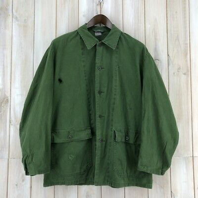 Vintage Swedish Work Worker Chore Utility Jacket Green Army Military Field L