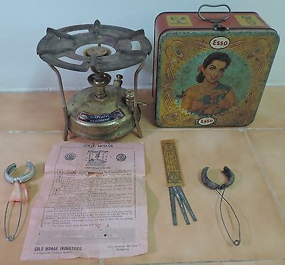 Rare Old Vintage {ESSO ELEPHANT PORTABLE STOVE} with tin box complete made india