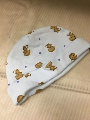 Carter's Baby Hat Blue with Monkey Design