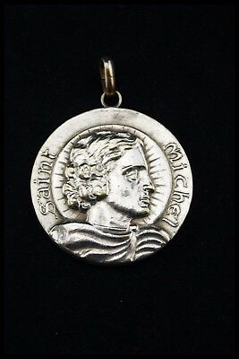 † Archangel St Michael & The Dragon Silverplated Bronze Medal Pendant France †