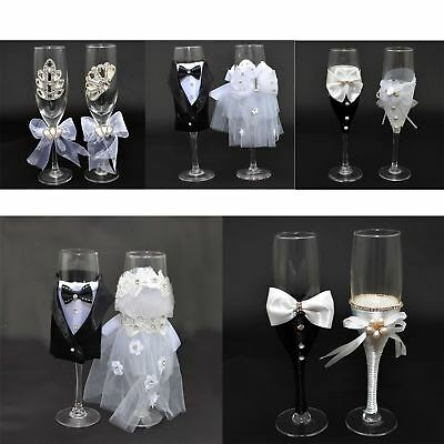 Bride & Groom Mr Mrs Champagne Glasses Flutes Pair Toasting Wedding Gifts Party
