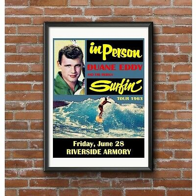 Duane Eddy & The Rebels Surfin' Tour 1963 Poster - Riverside Armory California