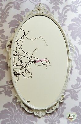 Vintage Mirror White Classic French Ornate Circa 1960's Hand Painted Antique