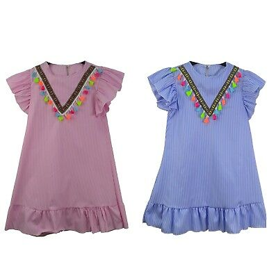 UK Summer Girls Party cotton Striped Dress Tassel Sundress Clothes 4 to 14 Years