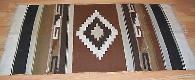 Zapotec Native Mexican Indian Hand Woven Wool Rug Geometric Design