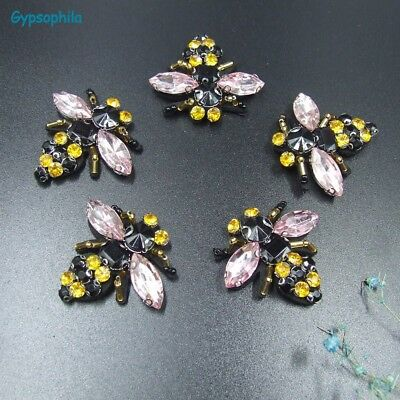 Gypsophila 5Pcs/Lot Sew On Applique Handmade Beaded Applique Beaded Bee Patches1