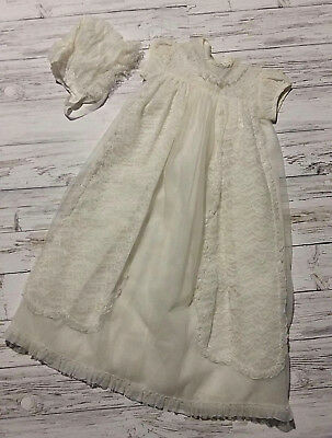 Vintage 1960's Ivory Lace Baby/Unisex Christening Gown and Bonnet. 0/3 Mths.
