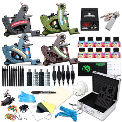 Complete Tattoo Kit Machine Professional Lining Shading Body 4 Gun 20 Ink Color