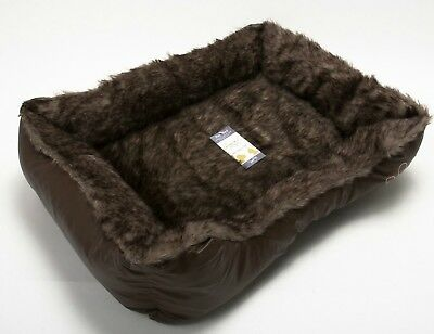 Pet Dog Cat Warm Basket Comfy Soft Rex Leather & Washable Fur Bed Brown Large