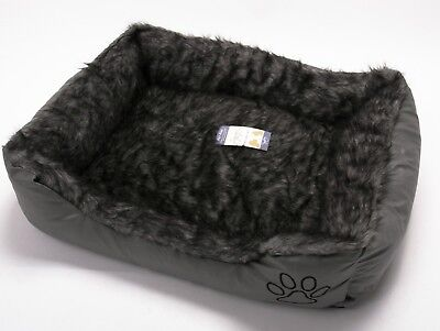 New Pet Dog Cat Warm Basket Comfy Soft Rex Leather & Washable Fur Bed Grey Large