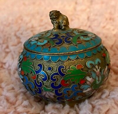 Antique Chinese Cloisonne and Enamel Foo Dog Opium Box / Trinket Box
