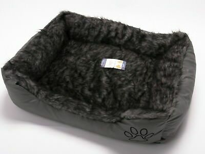 New Pet Dog Cat Warm Basket Comfy Soft Rex Leather & Washable Fur Bed Grey Small