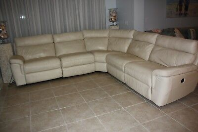 Peachy Leather Sectional Couch 5 Pieces With 4 Recliners Cream Gmtry Best Dining Table And Chair Ideas Images Gmtryco