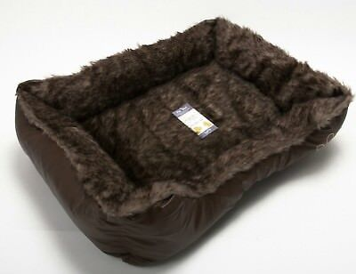 Pet Dog Cat Warm Basket Comfy Soft Rex Leather & Washable Fur Bed Brown Small
