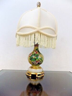 "18"" Antique Cloisonne Vase Lamp Dated 1910 Chinese/Japanese Porcelain W / Shade"