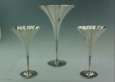 Set Of Three Art Nouveau Tiffany Solid Silver Fluted Trumpet Vase Vases