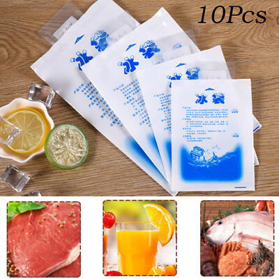 10PCS Plastic Reusable Cooler Bag Food Storage Ice Gel Cool Packs Cold Therapy