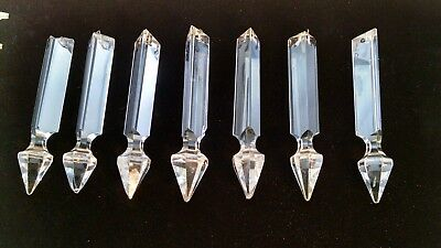 8 Crystal Glass Antique Vintage Spear Prisms  High Quality with Imperfections