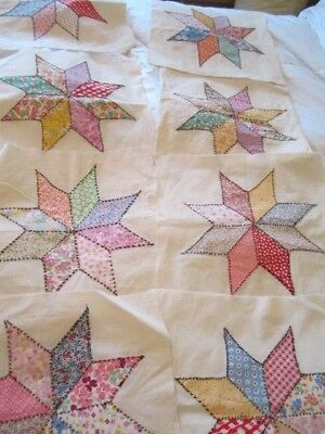 LOT OF 9 Vintage Calico Mixed STAR QUILT BLOCKS  SALVAGED squares Tops