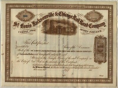 St. Louis Jacksonville & Chicago Railway Company Stock Certificate