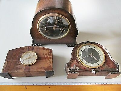 Lotto vintage antichi OROLOGI da tavolo GLEN + IMHOF + SMITHS clocks for repair