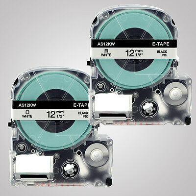 """2PK SS12KW 12mm (1/2"""") Black on White Label Tape for Epson LW300 LW400 LW700"""