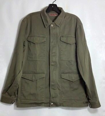 Quicksilver Mens Olive Green Jacket Field Coat Pockets 100% Cotton Size Medium