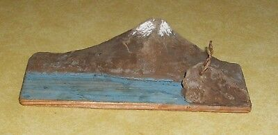 Vtg Miniature Mt Fuji Japan Volcano Old Souvenir Paper Label Model Japanese Art