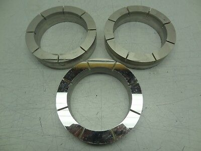 """Lot of 3 Stainless Steel Backed Ceramic Conditioning Rings 6-3/5""""OD 5""""ID Lapping"""
