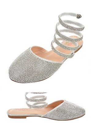 New Girls Flat Silver Shoes Rhinestone wrap around ankle Size 10 Toddler-5 Youth